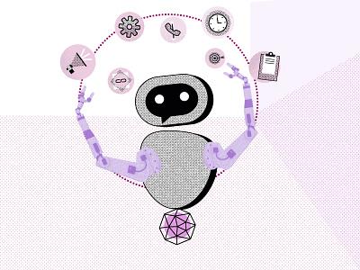 Chatbots Babe vector design line charachter halftone illustration bot iot virtualassistant chatbot
