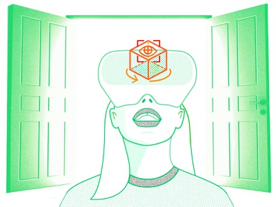 Augmented Reality Virtual Reality Ar Vr Hardware In 2019  Stand mixedreality duotone photography vector portrait halftone ar vr blog illustration lines