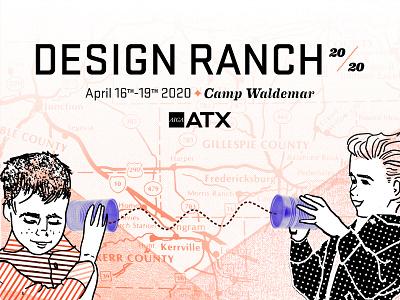 Design Ranch 2020 Social Banner tin can phone boys design ranch 2020 digital collage block print halftone digital illustration