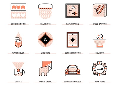 AIGA Design Ranch 2020 Workshop Icons illustration branding watercolor mums lowrider vector halftone conference workshops iconset aiga