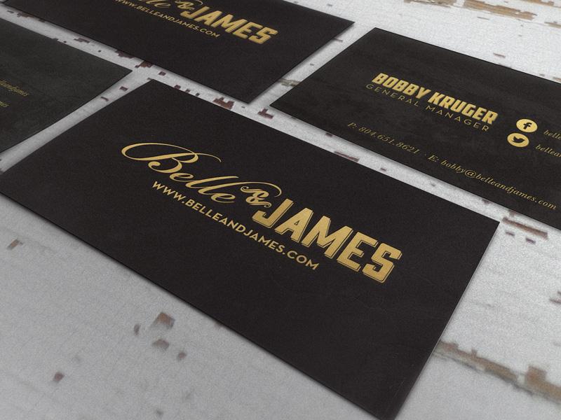 Belle & James Foil Cards cards business cards corporate foil stamp foil print restaurant food porn