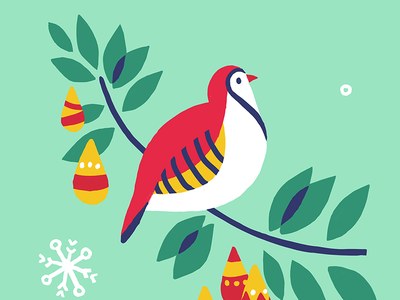 And A Partridge In A Pear Tree! partridge pear tree christmas card holidays wishes song twelve days of christmas countdown. red mint blue green yellow