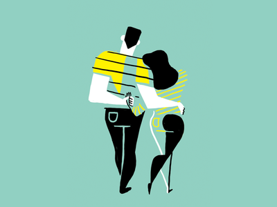 Couple Embrace stripes yellow teal embrace hug geometric minimal illustration couple