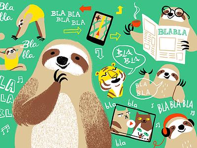 Integrating Language Learning into Daily Life educational learning language animal sloth editorial article illustration