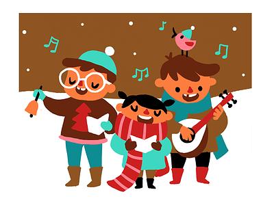 Christmas 2015 illustration winter snow kids songs carolling christmas