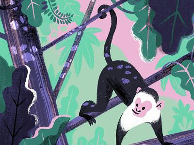Monkey number 7 purple mint pink animal rainforest jungle illustration 100monkeys monkey