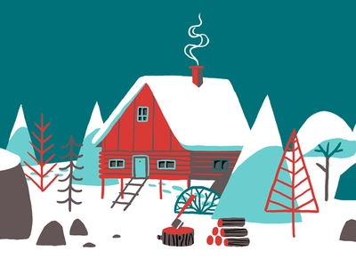 Winter - detail flat style background design building house snow winter illustration
