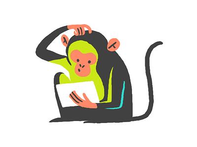 Jungle monkey with tablet ipad monkey minimal illustration