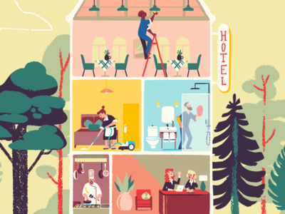 Inside the Hotel characters visual development animation hotel building architecture flat illustration