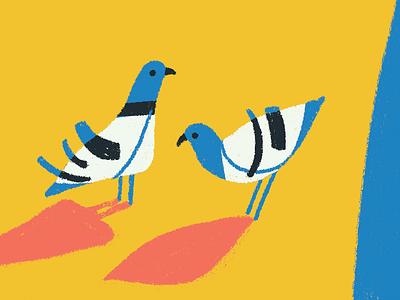 Pigeons sneak peek flat shapes animal illustration character modernism pigeons