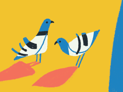 Pigeons sneak peek flat shapes animal illustration character modernism pigeons