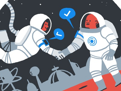 Rundl Astronauts limited colours website illustrations futuristic astronauts brand illustrations