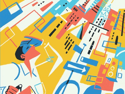 New York limited colors editorial illustration modernism city illustration new york
