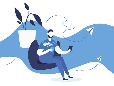 Vector vector art blue and white blue vector procreate pin digital 2d 2d art illustrator illustration drawing draw digital design character artwork artist art 2d