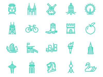 Website Icons for Flexport.com minimal design flat vector web app icon code branding design icons ux ui branding