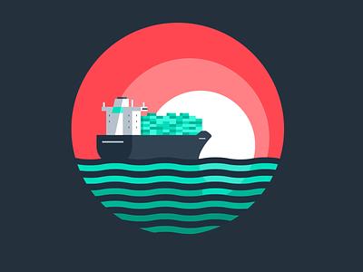 Lessons From 2020 sun sunset ocean boat ship logistics shipping web minimal illustration vector flat design branding