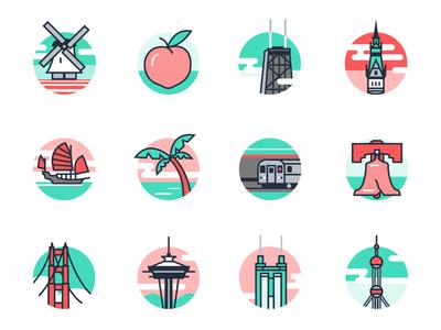 Location Icons For Flexport minimal logo branding flat code illustration locations icons icondesign iconset icon vector design