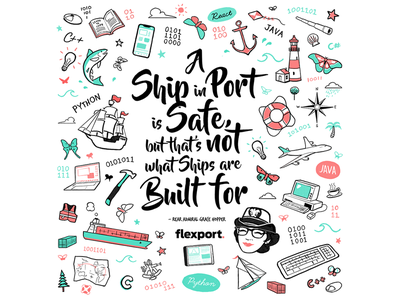 Grace Hopper Mural for Flexport design tradeshow convention engineering code drawing illustration branding