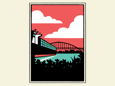 Cargo Ship in Portland flat branding postcard poster raster landscape illustration