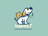 HAPPET BRAND brand identity colorful illustration vector branding petcare pet logo design