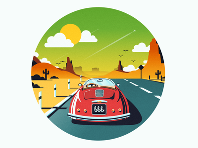 Porsche road trip illustration porsche travel vintage desert australia flat car evening mountain retro plane