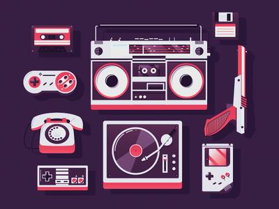 music/games nintendo vinyl radio retro zapper super nes gameboy music game icon kit