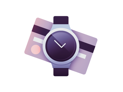 Time is money time money watch credit card flat illustration icon reflection luxury gradient minimal