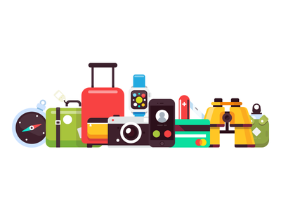 Travel pack icons vector flat illustration camera apple watch iphone compass binoculars knife camping