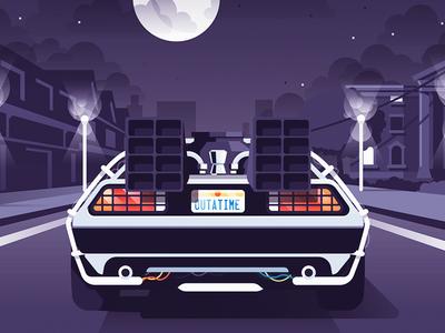 BTTF Tribute mcfly back to the future vector movie retro clouds moon night car illustration delorean bttf