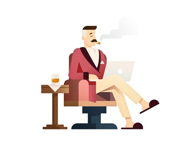 Stay Classy smoke apple macbook drink retro vintage moustache character vector gradient flat illustration