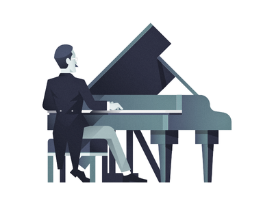 Piano Player piano flat illustration character classic shadow retro glasses play gradient vector