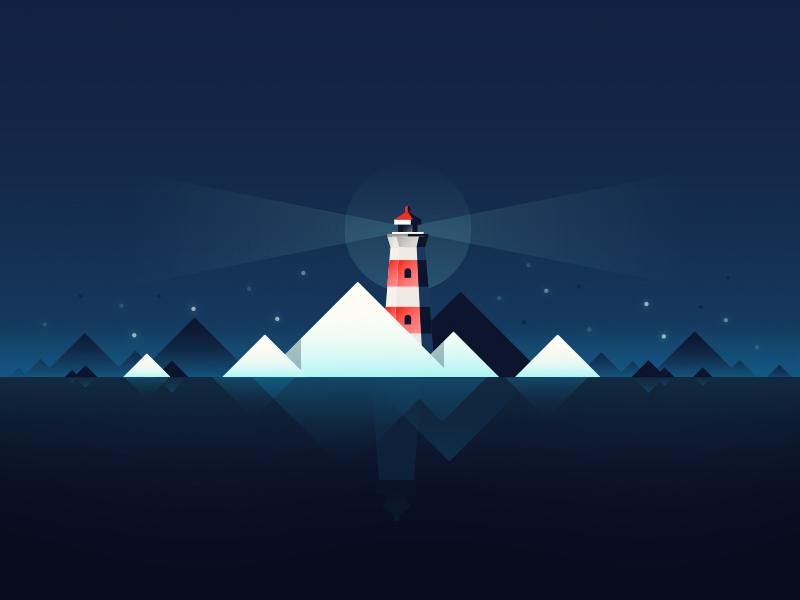 Lighthouse illustration art vector reflection light dark night ice winter gradient water lighthouse