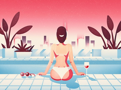 Drink by the pool grain glass drink sky plant vector illustration flat skyline people woman pool