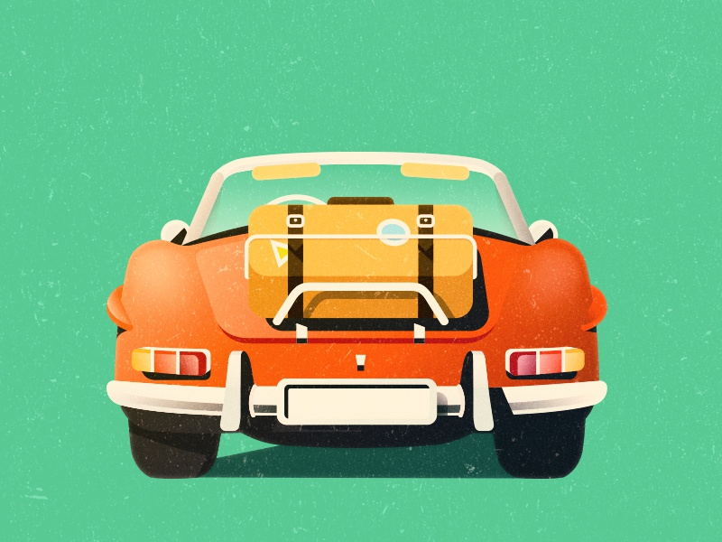 Roadster WIP flat print vintage retro wip roadster travel luggage illustration texture vector car