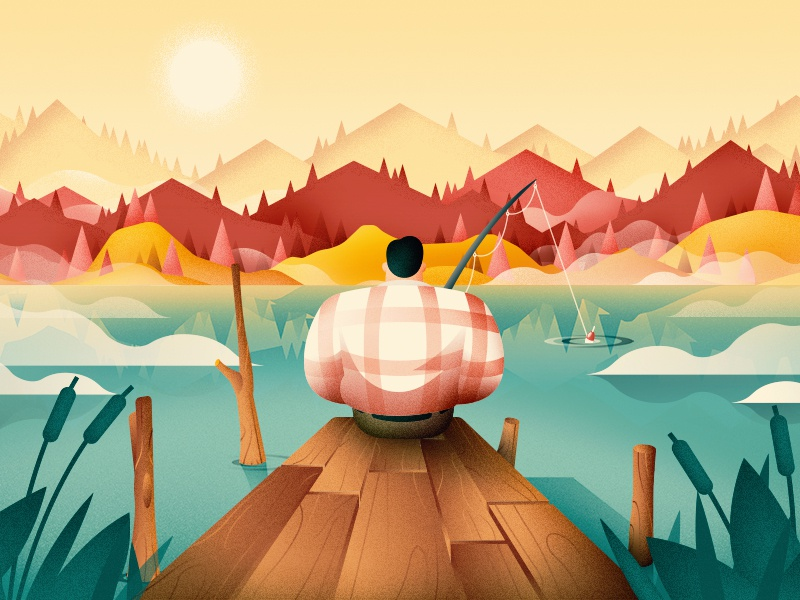 Fishing In Autumn water nature character mountains wood landscape art print wallpaper flat vector illustration