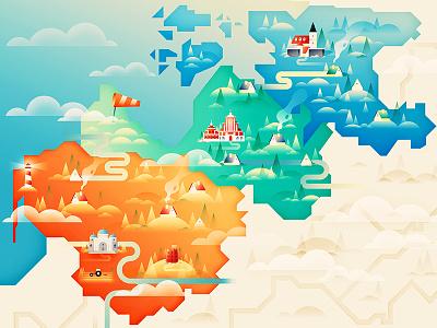 Baltic Trio europe landscape map editorial print flat vector illustration