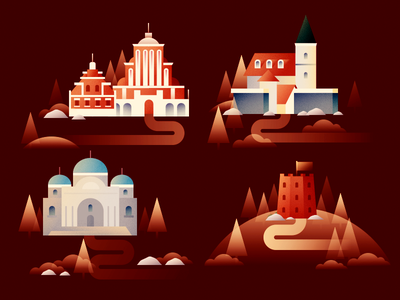 Baltic icons architecture icon europe landscape map editorial print flat vector illustration