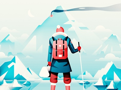 Arctic Thriller  art gear ice snow winter backpack movie mountains character flat vector illustration