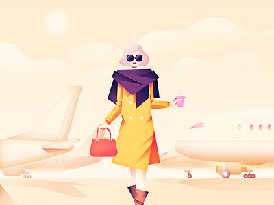 Airfield Diva coffee handbag art illustration vector flat print planes woman clouds character
