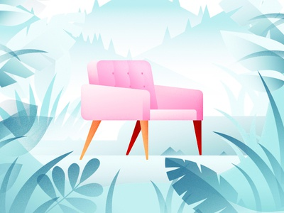 Welcome to the jungle flat illustration chair jungle vector print art cover mountains home foliage