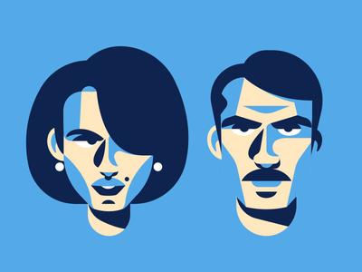 Mr & Mrs. icon shapes avatar shadow woman man minimal design character face vector illustration