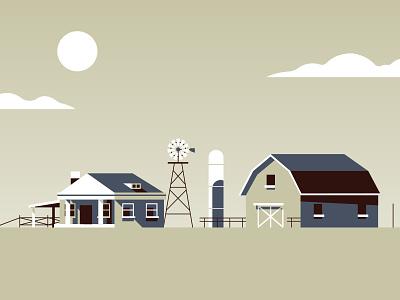 Things & Stuff No. 3 barn sun farm lighthouse house monochrome landscape gradient retro minimal illustration vector
