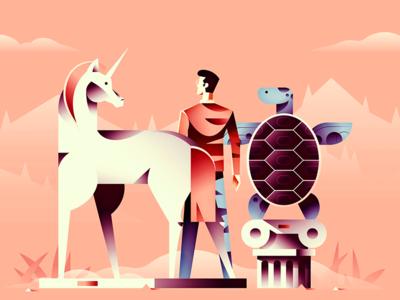 SaaS Podcast Cover statue design cover character turtle unicorn landscape gradient retro minimal illustration vector