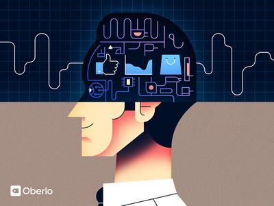 Oberlo Ebook Cover art retro minimal portrait man book cover illustration vector