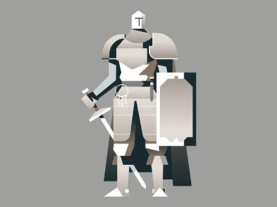 The White Knight flat design art retro character sword armour shield helmet hero concept art knight medieval neutral color minimal gradient flat character design digital vector illustration