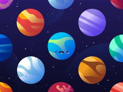 Elsanow Planet Variations planet pack art space icon design gradient minimal character flat vector illustration
