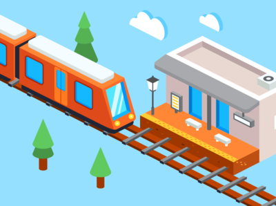 Isometric train and station