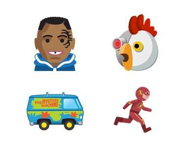 TW Emojis  flash scooby do mystery machine robot chicken adult swim mike tyson time warner