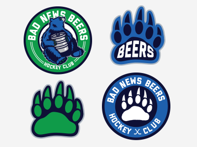 Hockey Shoulder Patches claw league beer bear icons logo patches hockey