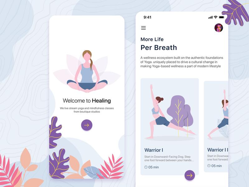 Healing splashscreen illustraion figma yoga fittness app mobile app